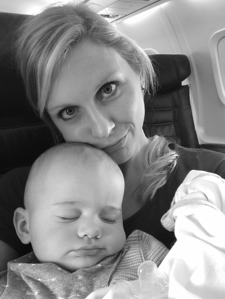 sleeping baby on plane